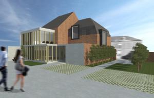 Hoekhuis renovatie 3D zij achter
